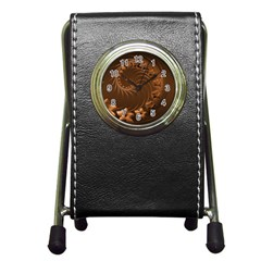 Dark Brown Abstract Flowers Stationery Holder Clock