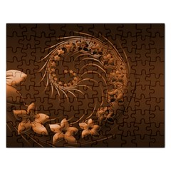 Dark Brown Abstract Flowers Jigsaw Puzzle (rectangle)