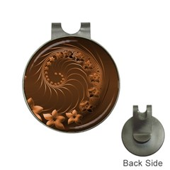 Dark Brown Abstract Flowers Hat Clip with Golf Ball Marker