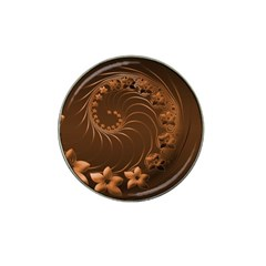 Dark Brown Abstract Flowers Golf Ball Marker (for Hat Clip)