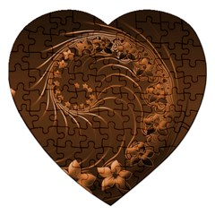 Dark Brown Abstract Flowers Jigsaw Puzzle (Heart)
