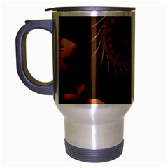 Dark Brown Abstract Flowers Travel Mug (Silver Gray)