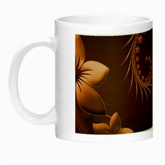 Dark Brown Abstract Flowers Glow in the Dark Mug