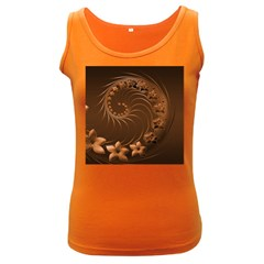 Dark Brown Abstract Flowers Womens  Tank Top (Dark Colored)