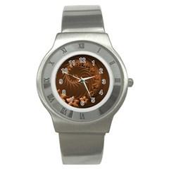 Dark Brown Abstract Flowers Stainless Steel Watch (Unisex)