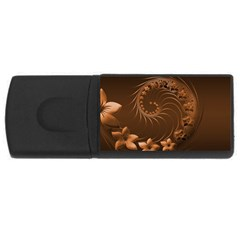 Dark Brown Abstract Flowers 4gb Usb Flash Drive (rectangle)