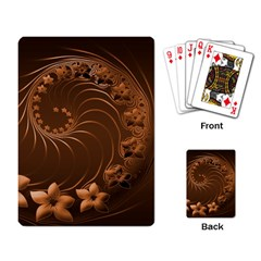 Dark Brown Abstract Flowers Playing Cards Single Design