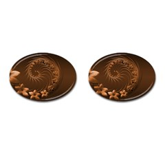 Dark Brown Abstract Flowers Cufflinks (Oval)