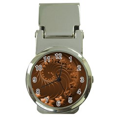 Dark Brown Abstract Flowers Money Clip with Watch