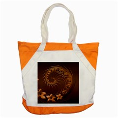 Dark Brown Abstract Flowers Accent Tote Bag