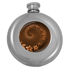 Dark Brown Abstract Flowers Hip Flask (Round)