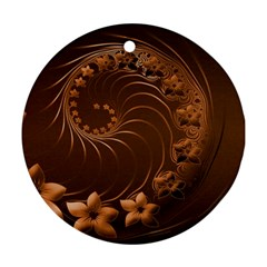 Dark Brown Abstract Flowers Round Ornament (two Sides)