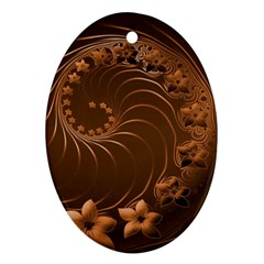 Dark Brown Abstract Flowers Oval Ornament (Two Sides)