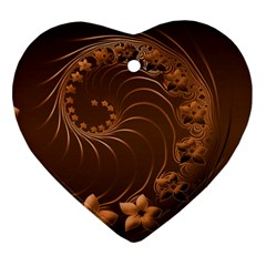 Dark Brown Abstract Flowers Heart Ornament (Two Sides)