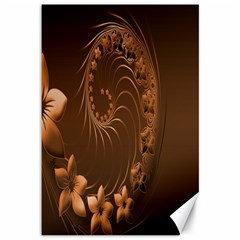 Dark Brown Abstract Flowers Canvas 12  x 18  (Unframed)