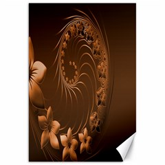 Dark Brown Abstract Flowers Canvas 20  X 30  (unframed)