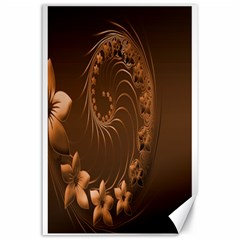 Dark Brown Abstract Flowers Canvas 24  X 36  (unframed)