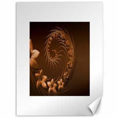 Dark Brown Abstract Flowers Canvas 36  x 48  (Unframed)