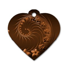 Dark Brown Abstract Flowers Dog Tag Heart (One Sided)
