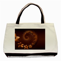 Dark Brown Abstract Flowers Twin Sided Black Tote Bag