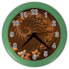 Dark Brown Abstract Flowers Wall Clock (color)