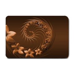 Dark Brown Abstract Flowers Small Door Mat