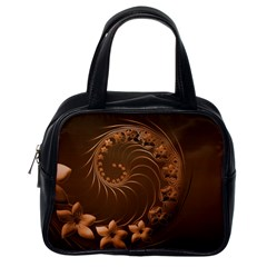 Dark Brown Abstract Flowers Classic Handbag (One Side)