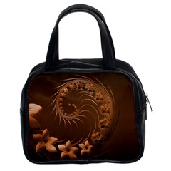 Dark Brown Abstract Flowers Classic Handbag (two Sides)