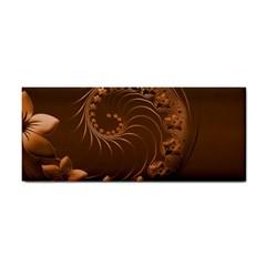 Dark Brown Abstract Flowers Hand Towel