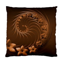 Dark Brown Abstract Flowers Cushion Case (One Side)
