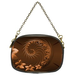 Dark Brown Abstract Flowers Chain Purse (Two Side)