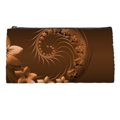 Dark Brown Abstract Flowers Pencil Case