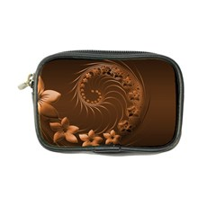 Dark Brown Abstract Flowers Coin Purse