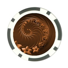 Dark Brown Abstract Flowers Poker Chip 10 Pack