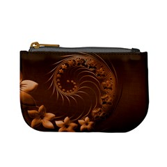 Dark Brown Abstract Flowers Coin Change Purse