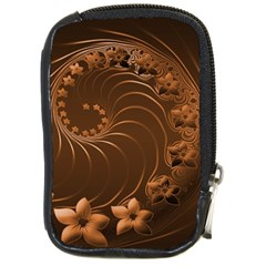 Dark Brown Abstract Flowers Compact Camera Leather Case