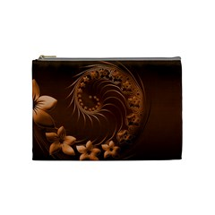 Dark Brown Abstract Flowers Cosmetic Bag (medium)