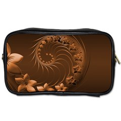 Dark Brown Abstract Flowers Travel Toiletry Bag (Two Sides)
