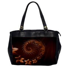Dark Brown Abstract Flowers Oversize Office Handbag (one Side)