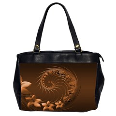 Dark Brown Abstract Flowers Oversize Office Handbag (Two Sides)