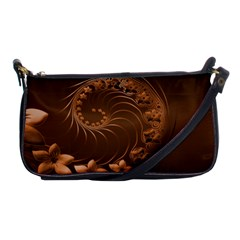 Dark Brown Abstract Flowers Evening Bag