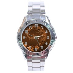 Dark Brown Abstract Flowers Stainless Steel Watch (Men s)