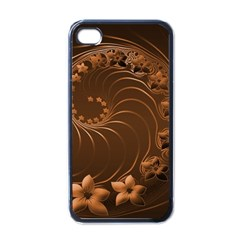 Dark Brown Abstract Flowers Apple iPhone 4 Case (Black)