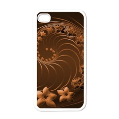 Dark Brown Abstract Flowers Apple iPhone 4 Case (White)