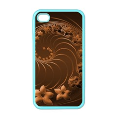 Dark Brown Abstract Flowers Apple iPhone 4 Case (Color)