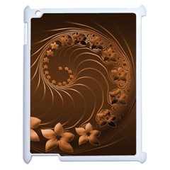 Dark Brown Abstract Flowers Apple iPad 2 Case (White)
