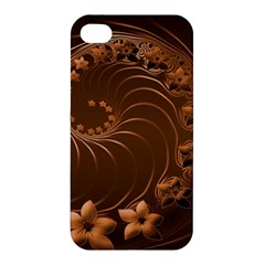 Dark Brown Abstract Flowers Apple iPhone 4/4S Hardshell Case