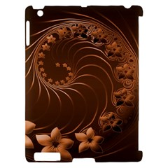 Dark Brown Abstract Flowers Apple iPad 2 Hardshell Case (Compatible with Smart Cover)