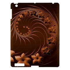 Dark Brown Abstract Flowers Apple Ipad 3/4 Hardshell Case