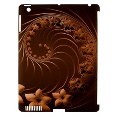 Dark Brown Abstract Flowers Apple iPad 3/4 Hardshell Case (Compatible with Smart Cover)